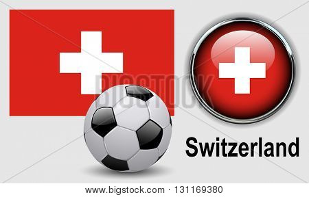 Switzerland flag icons with soccer ball, vector design.