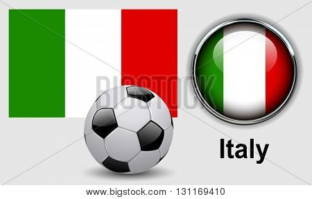 Italy flag icons with soccer ball, vector design.