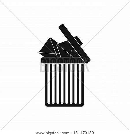 Trash can icon with envelopes icon in simple style on a white background