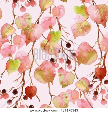 Watercolor autumn leaves branches and berry seamless pattern. Linden leaves and berries branches seamless pattern on soft toned pink background. Hand painted autumn garden illustration