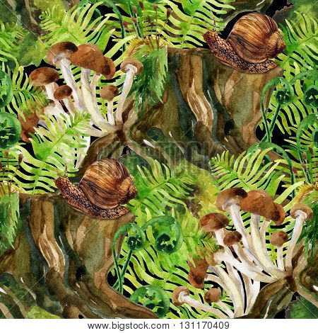 watercolor herbage background. Woods stump mushroom leaves lichen and snail seamless pattern. Watercolor colorful natural forest ecology. Hand painted forest wildlife illustration