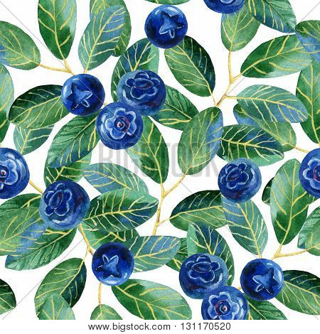 Blueberries with leaves watercolor seamless patern. Hand painted illustration