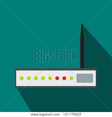 Router icon in flat style on a blue background