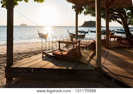 Luxury rest asian style pavilion in early moring front beach Thailand