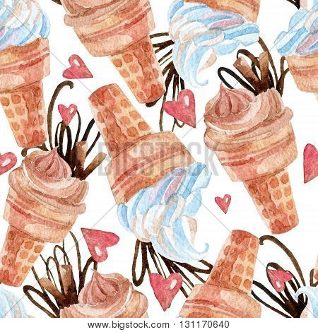 Watercolor ice cream seamless pattern. Hand painted illustration