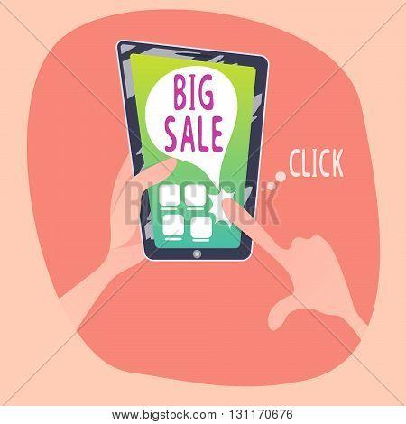 Human views online sale in smartphone . Cartoon style.Vector illustration.
