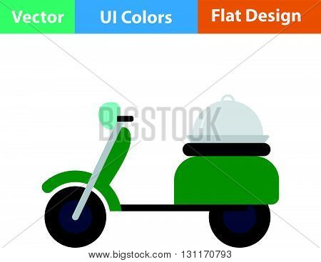 Delivering motorcycle icon. Vector illustration. Flat design ui.