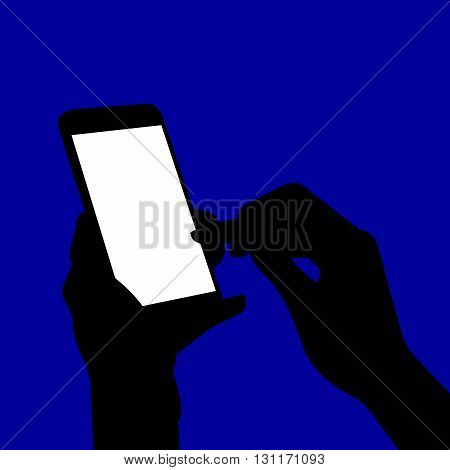 Phone In Hand Silhouette. Vector Illustration Of A Woman's Hands Holding A Smart Phone In The Dark. Silhouette.