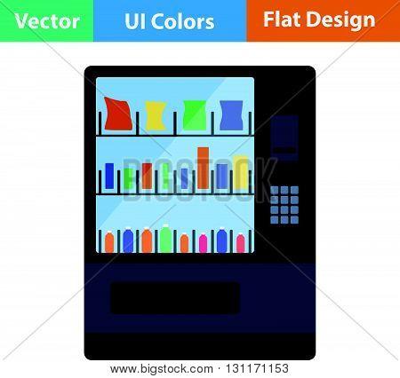 Food selling machine icon. Vector illustration. Flat design ui.