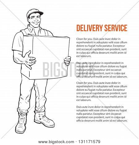 The guy is full height with the box, man holding parcel, color illustration, sketch style hand-drawn to the concept of delivery of stuff, transportation of goods, moving to another house