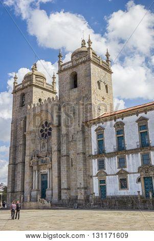 PORTO, PORTUGAL - APRIL 20, 2016: Se cathedral in the historical center of Porto, Portugal
