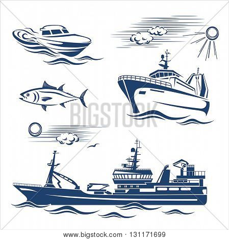 Fishing industry design elements. Vector set 2.