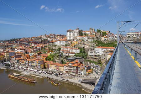 PORTO, PORTUGAL - APRIL 20, 2016: View over old Porto from the Ponte Luis I