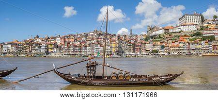 PORTO, PORTUGAL - APRIL 21, 2016: Panorama of classic portwine ships in Porto, Portugal