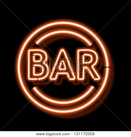 Retro neon sign with the word bar. Vintage electric symbol. Burning a pointer to a black wall in a club, bar or cafe. Design element for your ad, signs, posters, banners. illustration
