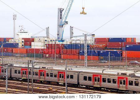 LISBON, PORTUGAL - OCTOBER 4, 2015: Cargo terminal of Lisbon port in Santa Apolonia