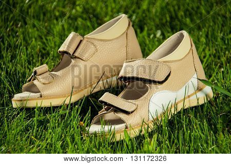 sandals couple lying on the green and juicy grass