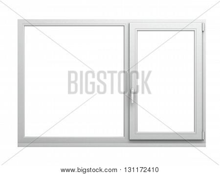3D rendering of modern double-glazed window in a brick wall overlooking a winter forest