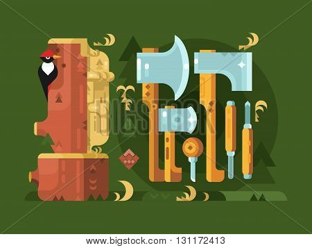 Tools for woodworking chisel ax. Carpenter work equipment, woodwork industry, vector illustration