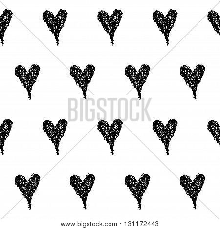 Doodle Seamless Pattern Background. Hand Drawn Black Hearts Isolated On White Cover