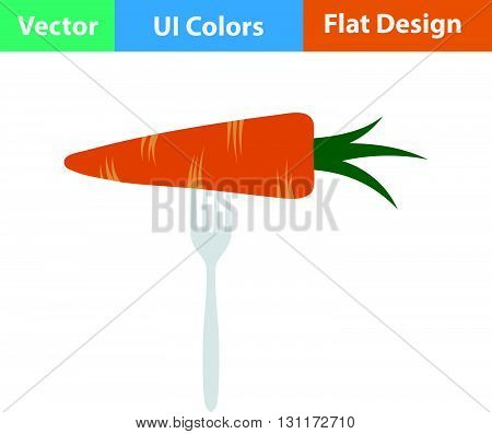 Flat Design Icon Of Diet Carrot On Fork