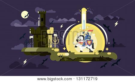 Knight with a shining sword. Medieval warrior military with weapon and protection helmet, vector illustration