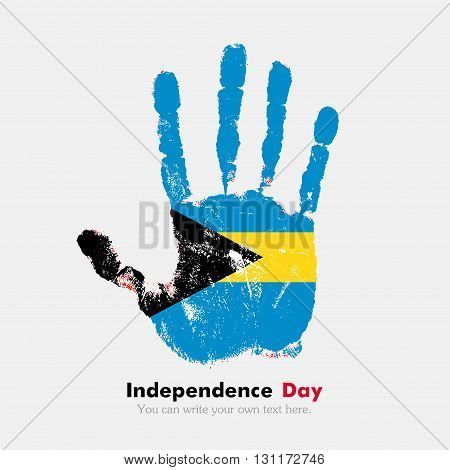 Hand print, which bears the flag of Bahamas. Independence Day. Grunge style. Grungy hand print with the flag. Hand print and five fingers. Used as an icon, card, greeting, printed materials.