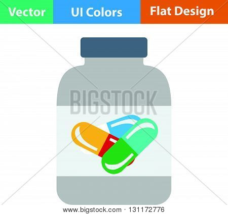 Flat Design Icon Of Fitness Pills In Container