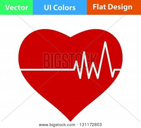 Flat Design Icon Of Heart With Cardio Diagram