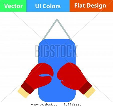 Flat Design Icon Of Boxing Pear And Gloves