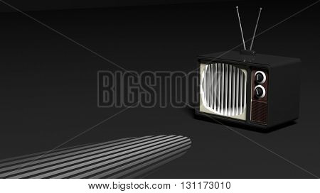 Antique TV set with prison bars on screen, on black background. 3D rendering