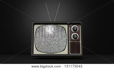 Antique TV set with noise on screen, on black background. 3D rendering