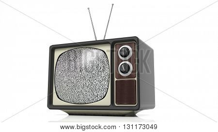 Antique TV set with noise on screen, isolated on white background. 3D rendering