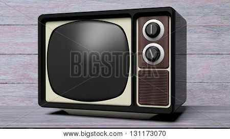 Antique TV set with black screen, on wooden  background. 3D rendering