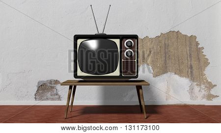 Antique TV set on table, home interior. 3D rendering