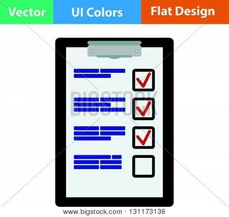 Training plan tablet icon. Vector illustration.  Flat design.