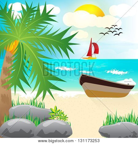 beach shore art design 100%vector easy to re edit and re-size up to your target