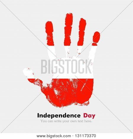 Hand print, which bears the flag of Austria. Independence Day. Grunge style. Grungy hand print with the flag. Hand print and five fingers. Used as an icon, card, greeting, printed materials.