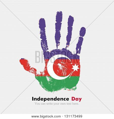 Hand print, which bears the Azerbaijani flag. Independence Day. Grunge style. Grungy hand print with the flag. Hand print and five fingers. Used as an icon, card, greeting, printed materials.
