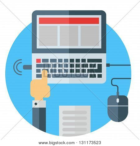 Business means of communication. Laptop with USB stick. Mouse hand document notebook wi-fi keyboard. Colored flat vector illustration