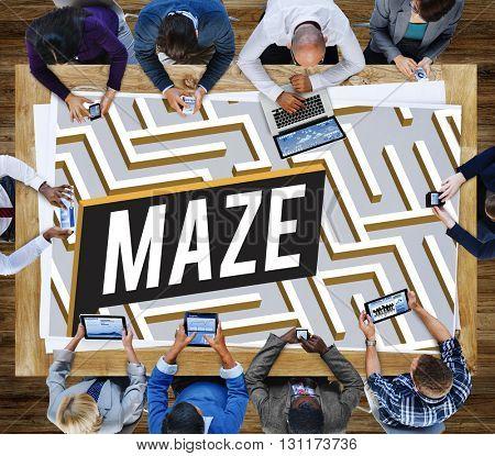 Maze Challenge Confusion Direction Exit Path Concept