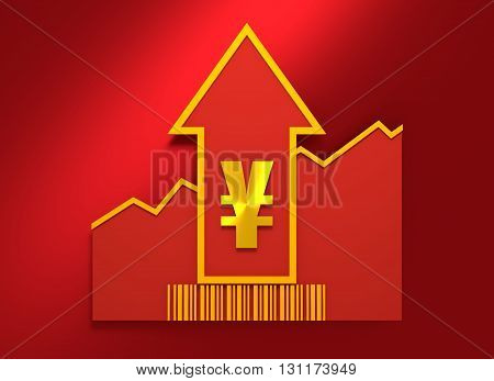 Yen sign and rise up arrow. Growth diagram and bar code. Relative for retail business. 3D rendering