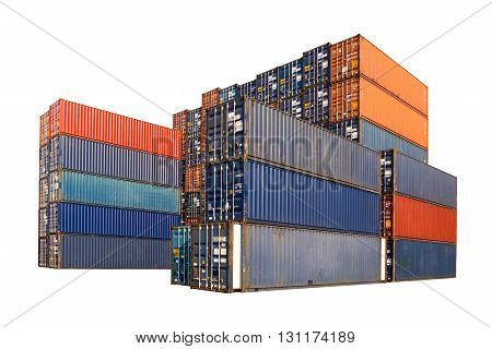 Stack of Cargo Containers isolated on white background with clipping path