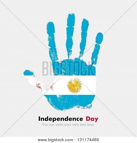 Hand print, which bears the Flag of Argentina. Independence Day. Grunge style. Grungy hand print with the flag. Hand print and five fingers. Used as an icon, card, greeting, printed materials.