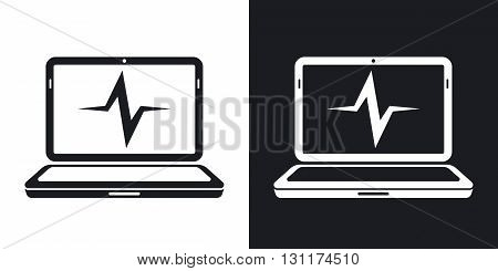 Vector laptop diagnostics icon. Two-tone version on black and white background