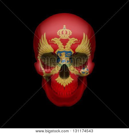 Human skull with flag of Montenegro. Threat to national security war or dying out