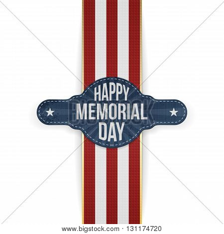 Happy Memorial Day festive Banner and Ribbon. National American Holiday Background Template. Vector Illustration.