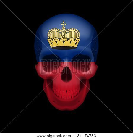 Human skull with flag of Liechtenstein. Threat to national security war or dying out