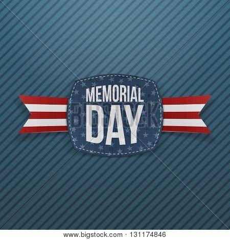 Memorial Day festive Emblem and Ribbon. National American Holiday Background Template. Vector Illustration.
