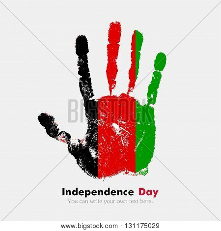Hand print, which bears the Flag of Afghanistan. Independence Day. Grunge style. Grungy hand print with the flag. Hand print and five fingers. Used as an icon, card, greeting, printed materials.